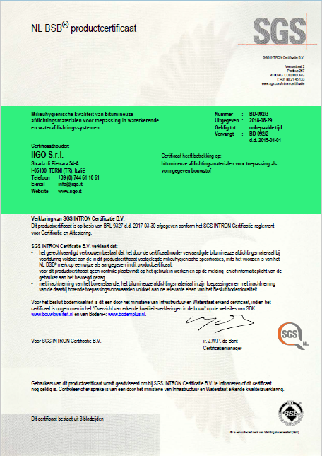 BSB product cert